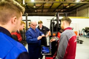 Forklift apprentices learning