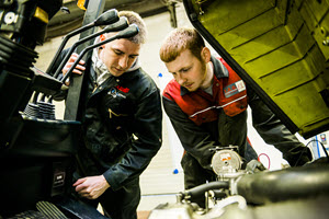 Forklift Truck engineers being trained